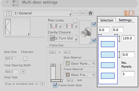 Door panel options tab